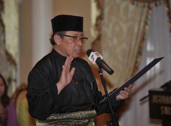 Datuk Abang Johari sworn in as the sixth Chief Minister of Sarawak today - pic Bernama
