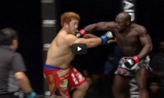 Alain Ngalani from Hong Kong knocked down Hideki Sekine of Japan with one single PUNCH